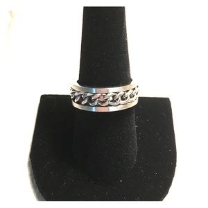 Stainless steel ring with braided cord